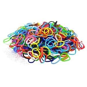Ateam Loom Bandz, Gummibänder in verschiedenen Farben, 600 Stück, inklusive 25 Klammern Muliti color