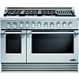 """DCS RGV486GLN Professional 48"""" Stainless Steel Gas Sealed Burner Double Oven Range - Convection"""