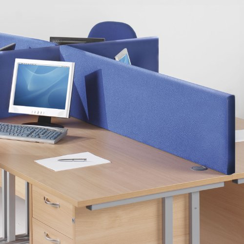 WorldStores Desk Partition - Charcoal Fabric Rectangular Desk Mounted Screen - 1200mm Width