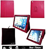 Bear Motion (TM) 100% Genuine Leather Case for iPad2 / iPad 3 (the new iPad) / iPad 4 with built-in Stand - Support auto sleep/awake function (Red)