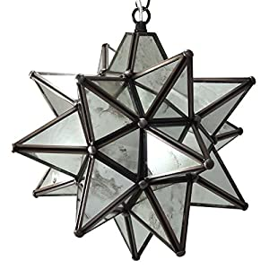 moravian star pendant light antique mirrored glass 12. Black Bedroom Furniture Sets. Home Design Ideas