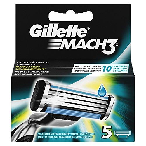 Gillette Mach3 Ricarica di Lame per Rasoio da Uomo, 5Pezzi