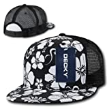Flat Bill Floral Printed Designed Mesh Snapback by Decky (Black)