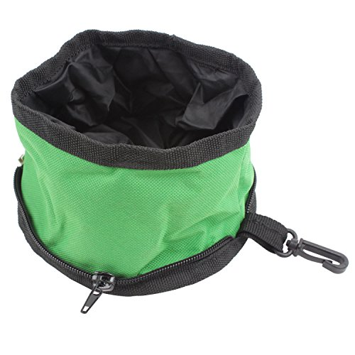 Niceeshop(Tm) Fold Fabric Portable Travel Dog Pet Food Water Bowl,Random Color front-356962