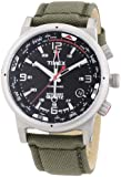 Timex Intelligent Quartz Men's Compass Watch with Black Dial Analogue Display and Green Fabric and Canvas - T2N726