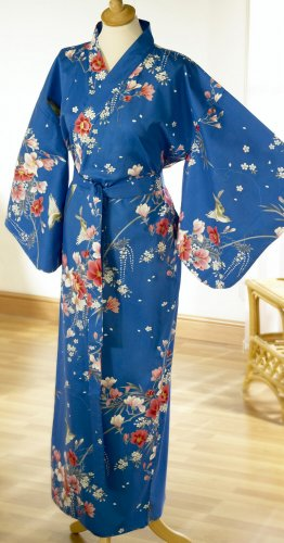 Ladies Cotton Kimono 'Flower Bird' - Blue