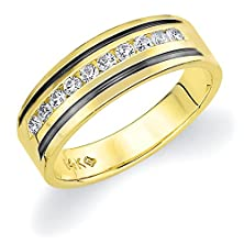 buy 18K Yellow Gold Men'S Diamond Ring With Black Rhodium (0.50 Cttw, G-H Color, Si1-Si2 Clarity) Size 6