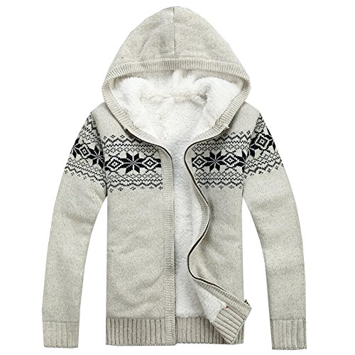 Men's Warm Knitted Zipper Cardigan Casual Thick Snowflake Pattern Sweater with Hoodies (X-Large, Off- White) (Ninja Neck Sweater compare prices)