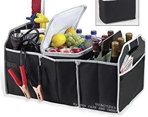 Fully Collapsible and Portable Folding Flat Trunk Organizer- Great for Storing Tools, Maps, Cleaning Supplies, Bottles, Emergency Tools, Groceries and Much More For Car SUV Truck in Black By USA CASH AND CARRY - PrimeTrendz TM