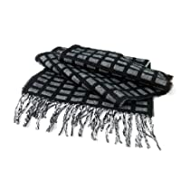 LA77 Casual Scarf-Black & White- 12 inches wide x 70 inches long
