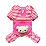 Cute Bear Comfy Dog Pajams Dog Shirt Stripes Dog Jumpsuit Pet Dog Clothes, Medium