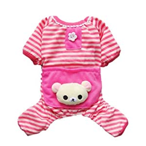 Cute Bear Comfy Dog Pajams Dog Shirt Stripes Dog Jumpsuit Pet Dog Clothes, Small
