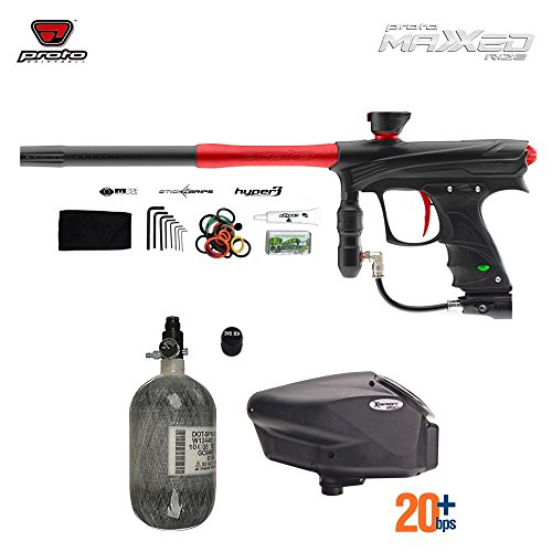 Proto Rize MaXXed HPA Paintball Gun Package - Black / Red (Dye Proto Hopper compare prices)