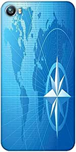 Snoogg blue compass vector background Designer Protective Back Case Cover For Micromax Canvas Fire 4 A107
