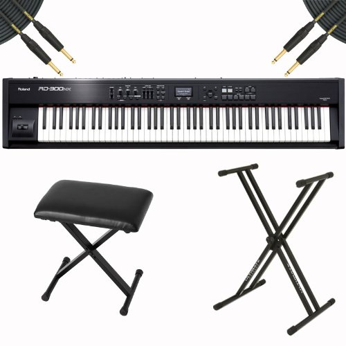 Roland Rd-300Nx 88-Key Digital Stage Piano Bundle - Stand, Stool, Cable