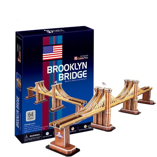 Ezhishop Brooklyn Bridge Diy 3D Puzzle Model Toy- 64 Pieces