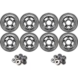 8-Pack Concrete Inline Skate Wheels 80mm 82a Clear 608 Hub + 7s Bearings