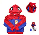 NiSHa – Size 2T, 3T, 4 Children Spiderman Style Hooded Coat, Baby Winter Cartoon Jacket, Baby Garment, Kids / Boy / Girl Outerwear Coat Spring Autumn Winter Hoodie Jacket, Kid Clothes, Boy Clothing thumbnail