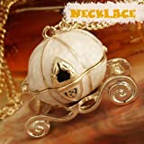 Vktech Lovely Vintage Magical Cinderella's Pumpkin Carriage Long Necklace Can Open