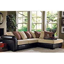 Creme Chenille Brown Vinyl Right Chaise Sectional Sofa