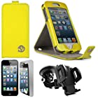 Yellow VG Patent Faux Leather Vertical Stand Flip Case for Apple iPhone 5 (16GB 32GB 64GB) + Mirror Screen Protector Strip w/ Cleaning Cloth + Universal Windshield Mount Holder with Suction Cup Holder