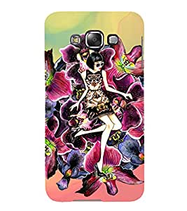 YOUNG STATEMENT ON A FLORAL BED 3D Hard Polycarbonate Designer Back Case Cover for Samsung Galaxy E7 :: Samsung Galaxy E7 E700F (2015)