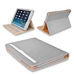 MOFRED® Grey & Tan Apple iPad Air-5th Generation (Launched November 2013) Leather Case-MOFRED®- Executive Multi Function Leather Standby Case for Apple iPad Air with Built-in magnet for Sleep & Awake Feature + Screen Protector + Stylus Pen (Available in Variety of Colors)