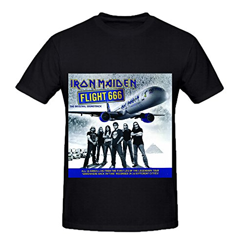 Iron Maiden Flight 666 Original Soundtrack Funk Album Cover Men Crew Neck Slim Fit Tee Shirts Black (Uga Twin Quilt compare prices)