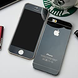 Kapa Electroplated Mirror Front + Back Tempered Glass Screen Protector for iPhone 4 4S - Black