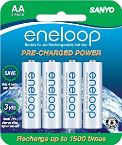 Sanyo NEW 1500 eneloop 8 Pack AA Ni-MH Pre-Charged Rechargeable Batteries $15.99