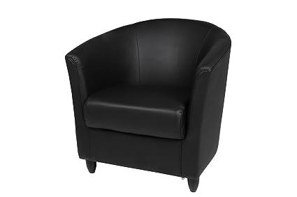 Fauteuil CLUB LUX en cuir noir