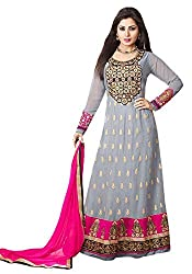 The Magical Thread Women's Georgette Anarkali Unstitched Dress Material (MR-DN089_Grey and Pink_Free Size)