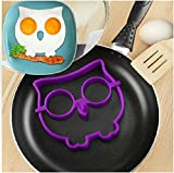 HAKSEN Silicone Egg Ring Maker Mold Shaper Combo / Breakfast Sandwich Pancake Omelet Novelty, Set of 3(Spooky Halloween Owl & Cute Rabbit & Skull Nonstick )