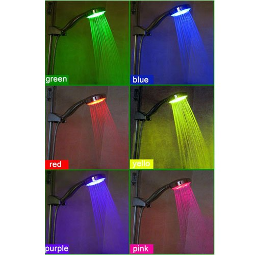 6-color LED Continuously Color Changing Bathroom Hand Shower,chrome