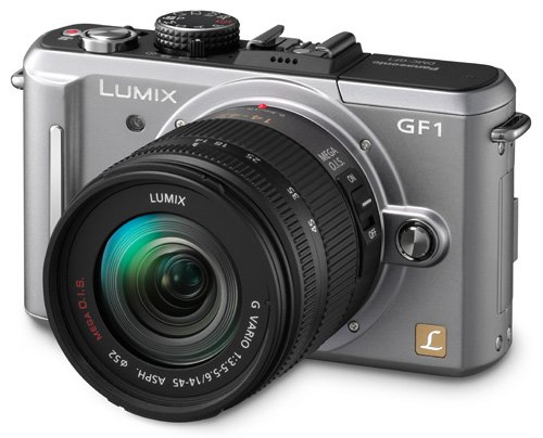 The Electronics World |   Panasonic Lumix DMC-GF1 12.1MP Micro Four-Thirds Interchangeable Lens Digital Camera with 14-45mm Lens (Silver) + WSP Mini Camera Tripod.