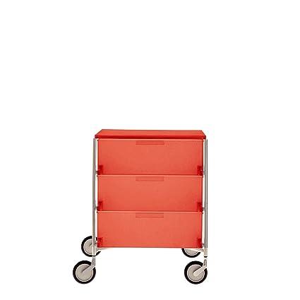 Contenedor de almacenamiento Kartell-móvil sobre ruedas con 3 cajones, naranja oscuro