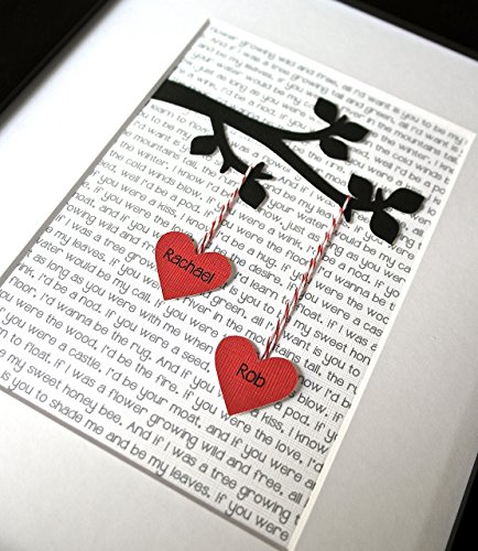 Personalized Unique Christmas Gift! 3D Unique Wedding Gift, Valentine's Day Gift, Personalized Print for Engagement or Anniversary with Custom Lyrics or Text!