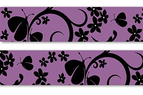 Frise-adhsive-Velvet-Butterfly-4-pices-560-x-15-cm-Frise-papier-peint-Frise-murale-galon-dcoration-murale-violet-papillon