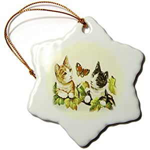 3dRose orn_55186_1 Butterfly n Kittens Snowflake Hanging Ornament, 3-Inch, Porcelain