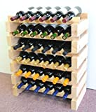 Wine Rack Wood -36 Bottles Modular Hardwood Wine Racks (6 bottles x 6 shelves)