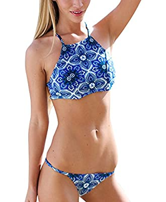 Creabygirls® Womens Cute Floral Halter Top and Bottom Bikini Set