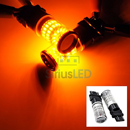 2 Pcs Of 3157 Amber 48 Smd Led Car Brake Stop Light Bulbs Tail Reverse Signal New 2014