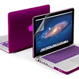 GMYLE 3-in-1 Rubberized Coating Hard Slim Cover Case for Apple Macbook Pro 13-Inch with Clear LCD Screen Protector and Purple Silicone Keyboard Cover Package – Deep Purple Reviews