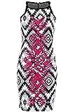 FANTASIA Ladies Sleeveless Aztec Print Lime Pink Glitter Contrast Women's Bodycon Dress