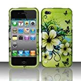 Rubberized Green Hawaiian Flower Snap on Design Case Hard Case Skin Cover Faceplate for Apple Iphone 4 4S (AT&T/Verizon/Sprint)
