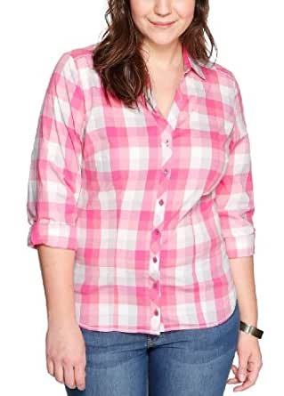 Triangle by s.Oliver Damen Regular Fit Bluse 18.401.11.5997, Gr. 50, Rosa (smokey grape check)