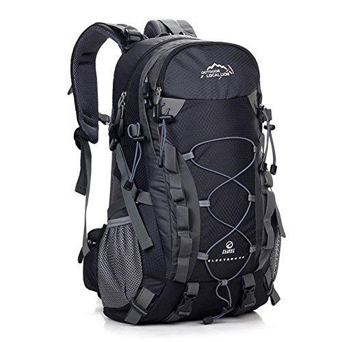 Diamond Candy Zaino da Trekking Outdoor Donna e Uomo con Protezione Impermeabile per alpinismo arrampicata equitazione ad Alta Capacità borsa da viaggio,Multifunzione, 40 litri, Nero + Una copertura di zaino