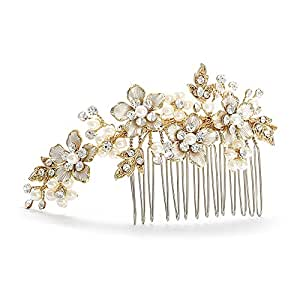 Mariell Handmade Brushed Gold And Ivory Pearl Wedding Comb. Our Best Selling Pearl & Crystal Bridal Comb!