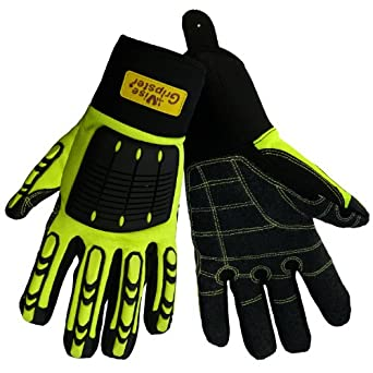 Global Glove SG9966 Vise Gripster Roughneck Glove with TPR Impact Protection, Work, Large (Case of 48)