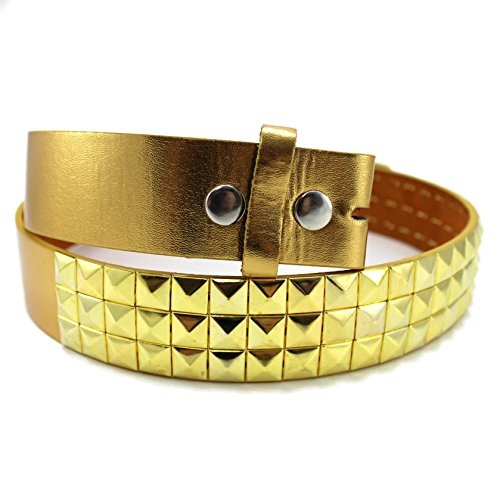 Enimay Solid Color Studded Belts With No Buckle Gold Large Gold Stud Belt
